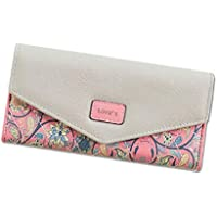 Vangay Sept City Leather Floral Trifold Clutch Long Women's Wallet (Pink)