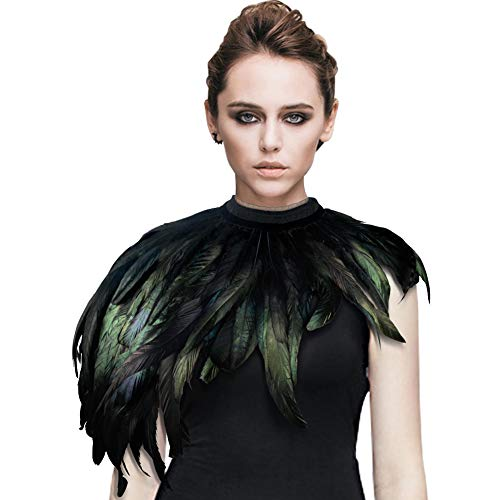Homelex Gothic Real Black Feather Cape Shawl Shoulder Wings Choker Collar (YM-24) -