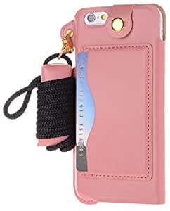 iPhone 6 Plus Case, Boilfish iPhone 6 Plus (5.5) Case [Neck Strap Series] [Card Holder] - Leather Case for iPhone 6 Plus (5.5) - Kick Stand (PULPC-T-001)iPhone 6 Plus(5.5in) Pink