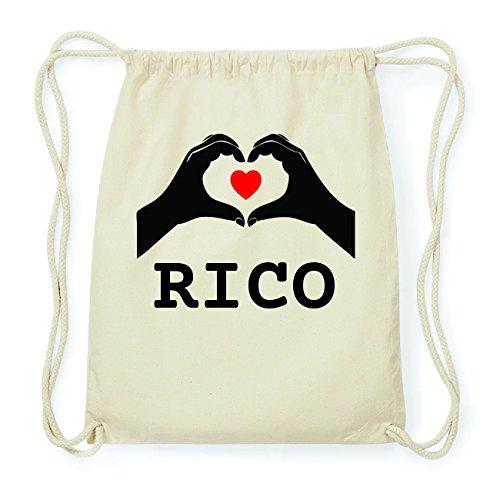 JOllify RICO Hipster Turnbeutel Tasche Rucksack aus Baumwolle - Farbe: natur Design: Hände Herz