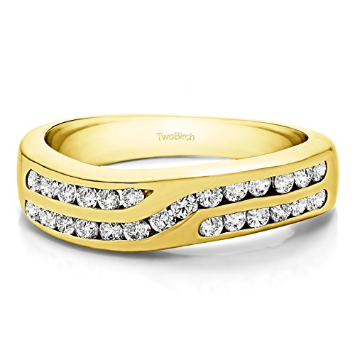 - 10k Yellow Gold Diamond .52 CT Double Row Twisted Channel Set Band(Size 3 To 15 1/4 Size Interval)