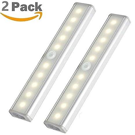 Sensor de movimiento para interiores, 10 luces LED de color blanco cálido, tira magnética