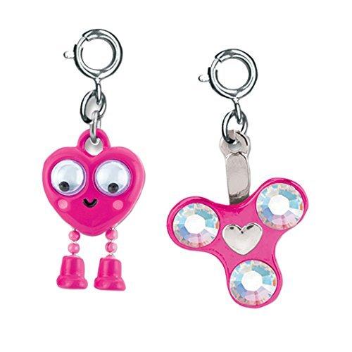 (CHARM IT! Spinner and Googly Eyes Heart Emoji 2 Charm Ribbon Bag Add On Set)