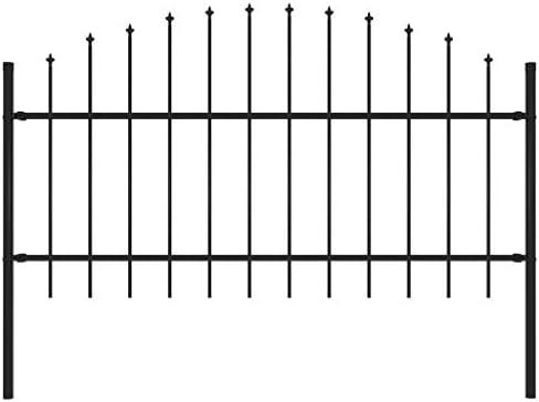 vidaXL Valla de Jardín con Puntas Acero Cercado Metálico Paneles Valla Barrera Perimetral Segura Ocultación Decorativa Estable Negro (1-1.25) x1.7m: Amazon.es: Bricolaje y herramientas
