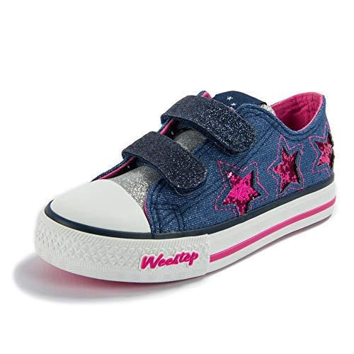 Weestep Toddler/Little Kids Girls Low Top Sneaker (9 M US Toddler, Blue/Star)