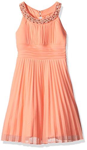 Speechless Girls' Big Jeweled Highneck Shrred Bodice Pleated Dress, Coral 14