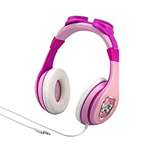 Paw Patrol Skye and Everest Kids Headphones, Adjustable Headband, Stereo Sound, 3.5Mm Jack, Wired Headphones for Kids, Tangle-Free, Volume Control, Foldable, Childrens Headphones Over Ear for School H