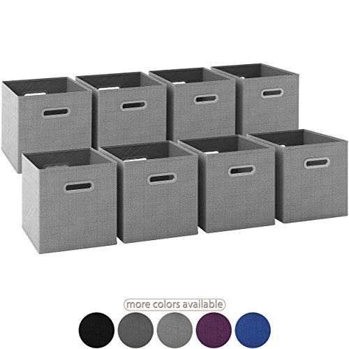 Up Pop Chest Storage (Royexe LAUNCH SALE - Storage Cubes | [Set of 8] Foldable Fabric Bins | Features Dual Plastic Handles | Collapsible Organizer Storage Baskets| Folding Closet Drawer Cube. (Light Grey))