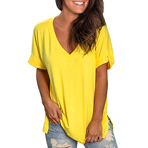 ✿HebeTop✿ Women's V Neck T Shirt Solid Color High Low Side Split Tunic Tops Yellow