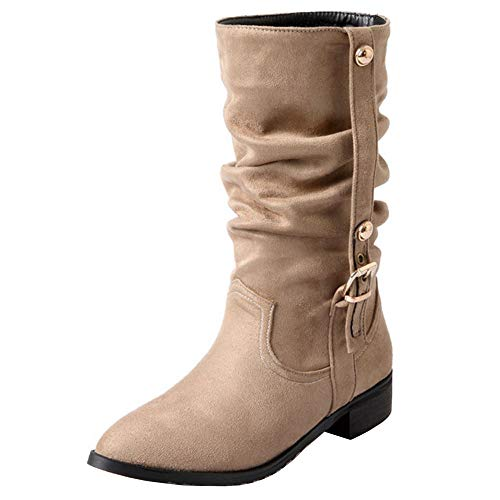 Melady Women Fashion Low Heels Mid Boots Slouch Pull On Beige
