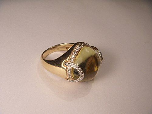 Cabochon 14k Yellow Gold Ring (Beautiful 14K Yellow Gold Diamond Cabochon Lemon Quartz Ring)
