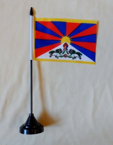 Tibet Wooden /& Polyester Table Flag FREE UK DELIVERY
