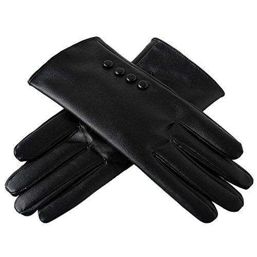 Liebeye スクリーンタッチ手袋 女性 冬 暖かい 厚手 防風 スタイリッシュ ブラック フリーサイズ