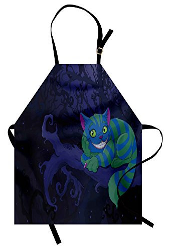 Lunarable Alice in Wonderland Apron, Chester Cat Sitting on Branch Fairytale Forest with Character, Unisex Kitchen Bib Apron with Adjustable Neck for Cooking Baking Gardening, Purple Green -