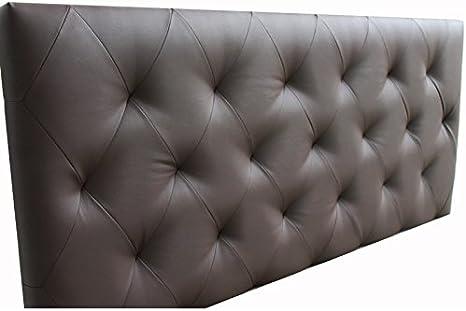 Ventadecolchones - Cabecero Tapizado Acolchado de Dormitorio Modelo Diamond el Polipiel Wengué y Medidas 180 x 70 cm para Camas de 160 ó 180