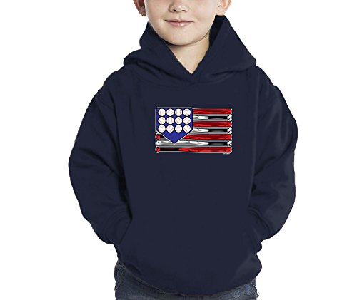 Toddler Little Boy Baseball American Flag Hoodie Sweatshirt ( 5/6, NAVY BLUE)