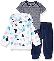 Amazon Essentials Toddler Girls' 3-Piece Microfleece Hoodie