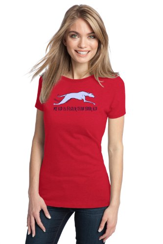 MY KID IS FASTER THAN YOUR KID Greyhound Owner Ladies' T-shirt / Grey Rescue Fan Tee