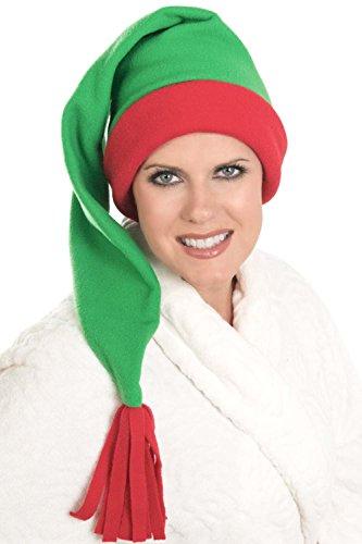 - Headcovers Unlimited Elf Sleep Cap - Fleece Stocking Sleeping Night Hat for Women Green with Red