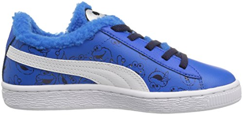 Puma Sesame Street Basket Kids Sneaker (Little Kid/Big Kid) Electric Blue Lemonade/Puma Black