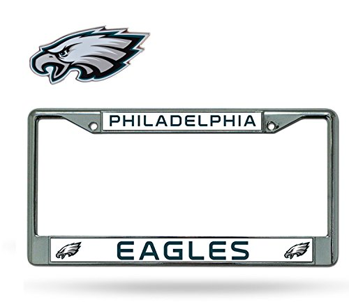 Official National Football League Fan Shop Licensed NFL Shop Authentic Chrome License Plate Frame and Colored Auto Emblem (Philadelphia Eagles) Flag Logo License Plates