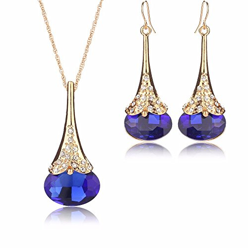 Women Fashion Water Drop Shape Gold Plated Jewelry Set Necklace Earring of Gemstone Crystal for Costume Show Wedding Party Dance Ceremony Accessories