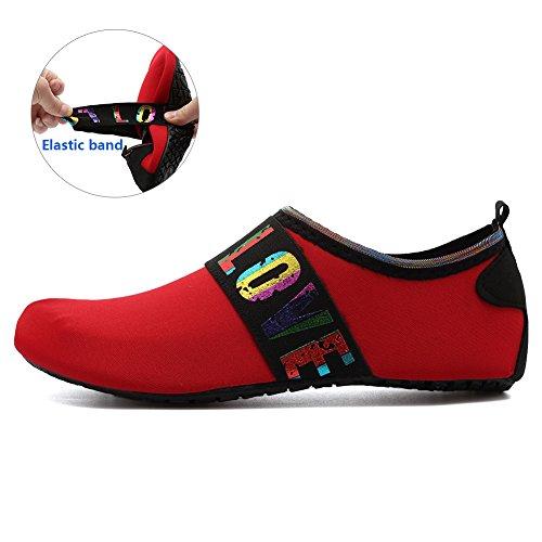 Equick Mujeres Zapatos De Agua Respirador De Secado Rápido Zapatos Deportivos De Piel Descalzo Calcetines Antideslizantes Multifuncionales Ejercicio De Yoga L.red