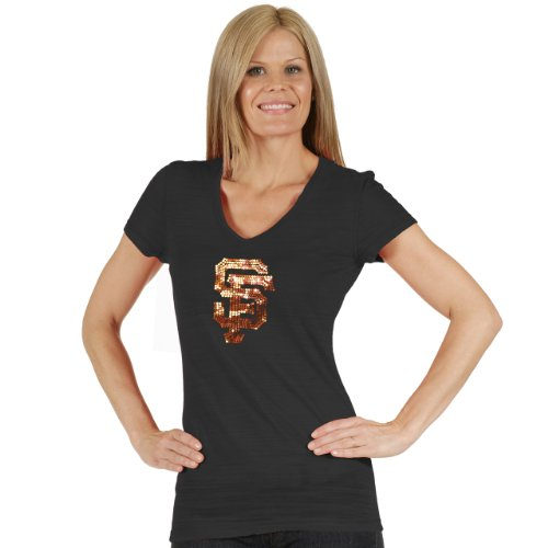 Soft As A Grape MLB San Francisco Giants Women's Tri Blend Multi Count V Neck Tee, Small, (Giant Blend)