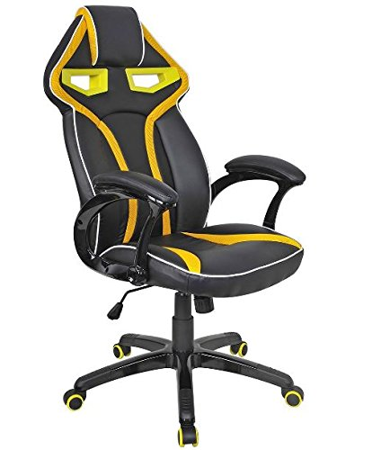 41i69tNeHGL - K&A Company Chair Style High Back Gaming Racing Ergonomic Office Leather Pu Swivel Computer Executive 360 Degree 5 Wheels Mesh Bucket Seat Yellow