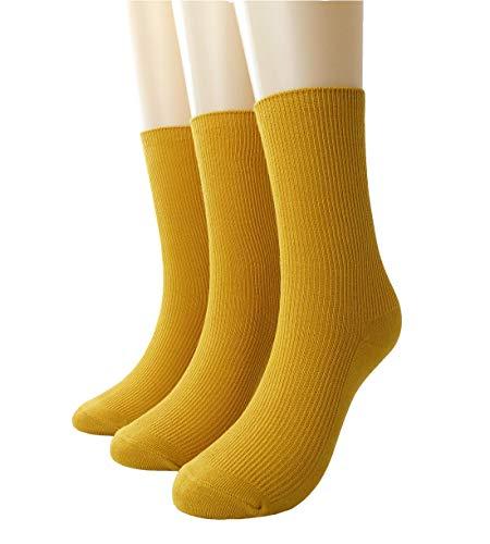 KEKEOCIA Womens Colorful Basic Sock -Unique Knit Cotton Crew Socks 3 Pack (Ginger-yellow)