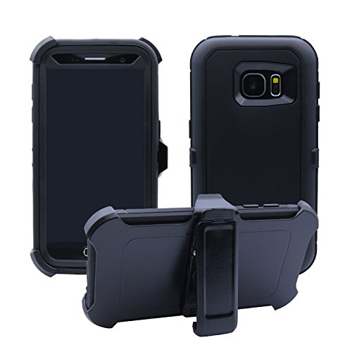 Samsung Galaxy S7 Cover | 3-in-1 Screen Protector, Kickstand & Holster Case | Full Body Military Grade Edge-to-Edge Protection with carrying belt clip| Drop Proof Shockproof Dustproof | Black/Black