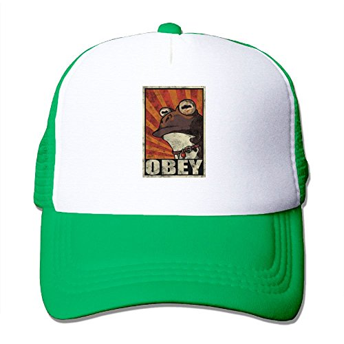 ooiilpe Men&women Funny Frog Obey Hypnotoad Outdoor Hip Hop Running Cotton Mesh Mesh Hat Adjustable