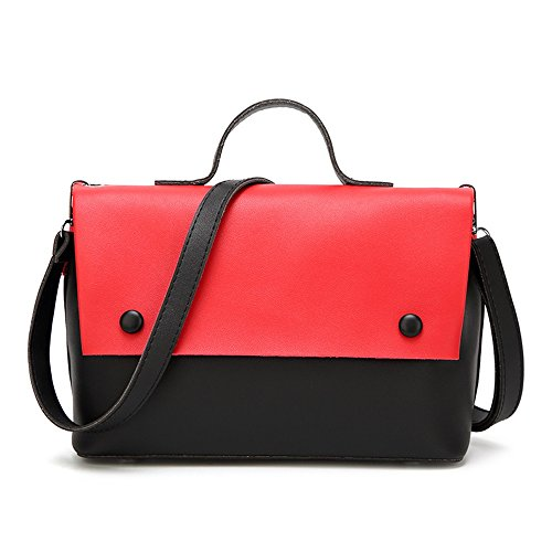 Red Pu Hit Color Square Bag Retro Leisure Messenger Shoulder Fringe Bag Magnetic Mother Simple nqBt7wIx8I
