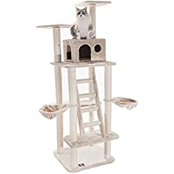 Majestic Pet Products 72 inch Beige Casita Cat Furniture Condo House Scratcher Multi Level Pet Activity Tree