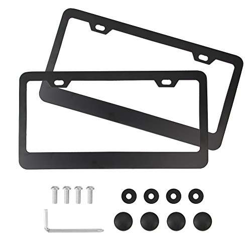 Car License Plate Frame, Zilong Matte Aluminum Black License Plate Covers 2 Holes Fixed Slim Design with Screw Caps (2 PCS)