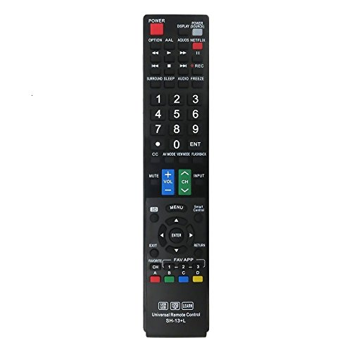 LuckyStar SH-13+L Universal Remote Control for Almost All Sharp Brand LCD LED HD TV, Smart TV, GB004WJSA GB005WJSA GA890WJSA GB118WJSA GJ221-C GJ221 (SH-13+L) (Control Lcdtv Remote Sharp)
