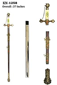 Masonic Knights Templar Ceremonial Sword Antiqued Brown Finish with Chain