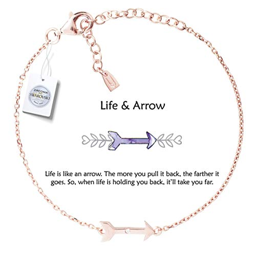 Womens Arrow - Vivid&Keith Womens Girls 925 Real Sterling Silver 18K Plated Swarovski Zirconia Cute Adjustable Gift Fashion Jewelry Link Chain Charm Pendant Bangle Bracelet, Life & Arrow, Rose Gold Plated