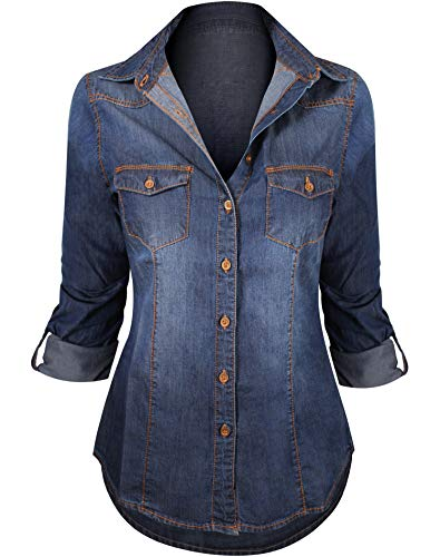 (Women's Button Down Roll up Sleeve Classic Denim Shirt Tops)