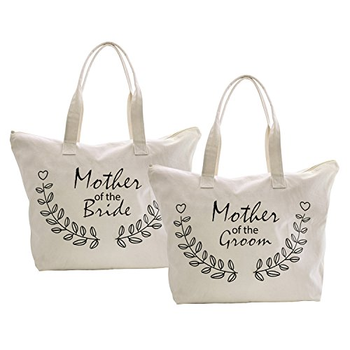 ElegantPark Mother of the Bride+Groom Tote Bag for Wedding Gifts Zip 100% Cotton 2 Pcs (Best Mother Of The Bride Gifts)