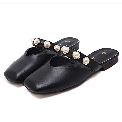 Baotou zapatillas casuales sandalias planas del verano femenino de ropa exterior perla pedalear zapatillas de un perezoso medio Black