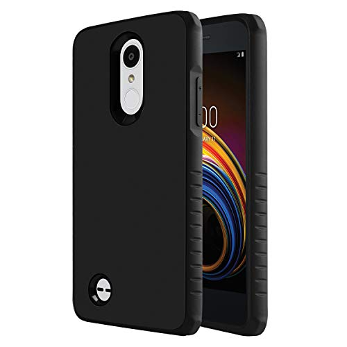 LG Aristo 3 Phone/LG Tribute Empire/LG Aristo 2/LG Tribute Dynasty/Zone 4/Fortune 2/Risio 3/Rebel 3 LTE Phone/Rebel 2/K8+ Plus/Fortune/Risio 2 Case, OEAGO Dual Layer Hybrid Shock Absorbing Cover,Black