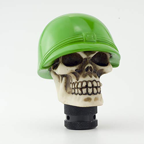 Skull Shift - Sivcom Green Hat Soldier Skull Universal Shift Knob Manual Gear Shifter Automatic Stick Shift Handle Shifter Knobs Car Vehicles