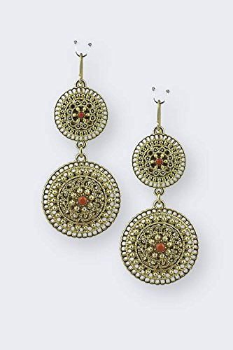 trendy-fashion-jewelry-round-filigree-link-drop-earrings-by-fashion-destination-coral-gold