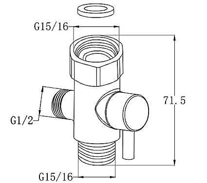 Hltd Brass T Valve Adapter3 Way Shower Arm Diverter Valve Tee