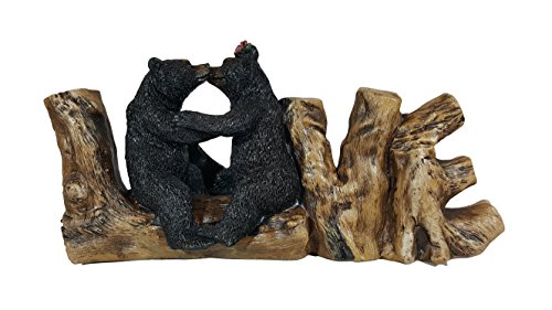 Romantic Black Bear Couple In Courtship On Wooden
