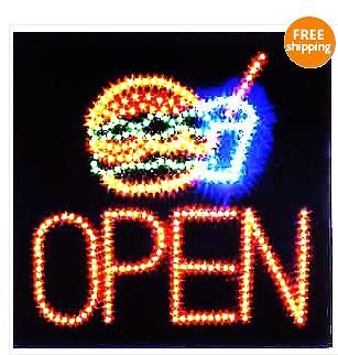 E-ONSale Ultra Bright Hamburger burger with Drink LED Sign Super Size 19
