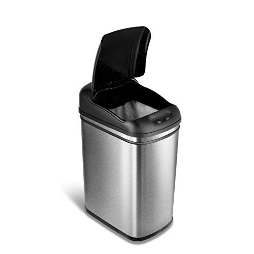 Ninestars Dzt 30 1 Automatic Touchless Motion Sensor Rectangular Trash Can  7 9 Gal  30 L  Stainless Steel
