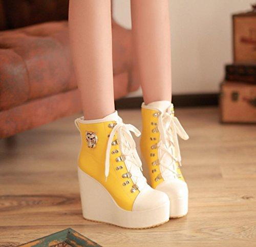 gelb Heels PU Shoeslace Damenschuhe Style Stoff Martin Casual Beste Stiching Round High Farbe 10cm Stiefel Toe 4U agqx8A