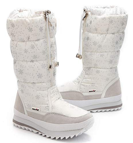 Snow Women's Waterproof Boots Fur Frosty White DADAWEN Winter Lined Y1PqgqFw